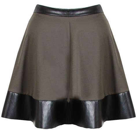 new womens khaki green pu leather trim skater skirt mini