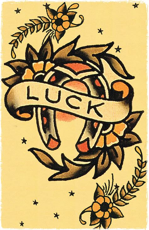 11 x 17 good luck horse shoe sailor jerry style flash poster