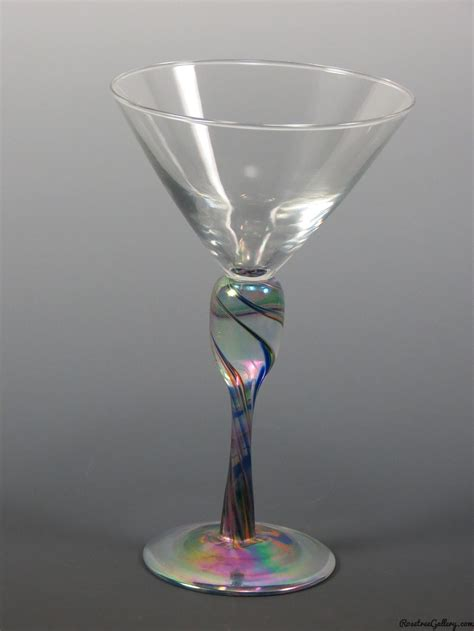 martini rainbow martini glass rosetree blown glass