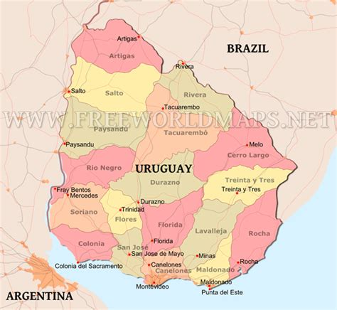 political map of uruguay uruguay political map