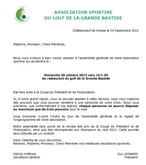 lettre type convocation sportive