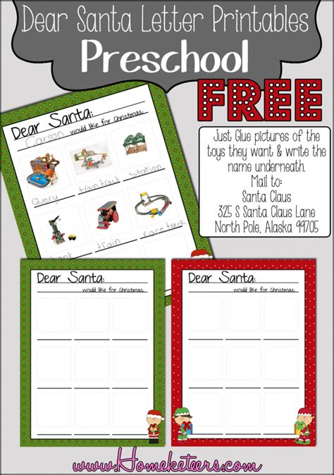 dear santa template kindergarten letter printable up free printables