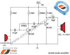 simple condenser microphone mini audio lifier circuit schematic circuits gallery