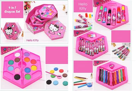 4 In 1 Crayon 4 Tingkat Set Isi 46 Pieces Alat Menggambar jual 4 in 1 crayon set hello 4 tingkat isi 46 pcs