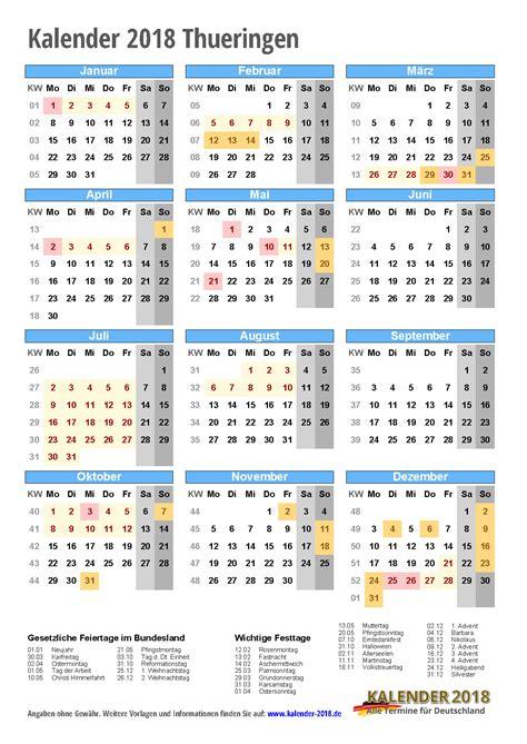Kalender 2018 Ferien Kostenlos Kalender 2018 Th 252 Ringen Zum Ausdrucken 171 Kalender 2018