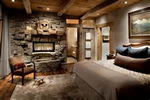 Wooden beams and stone the perfect combination for a cabin like