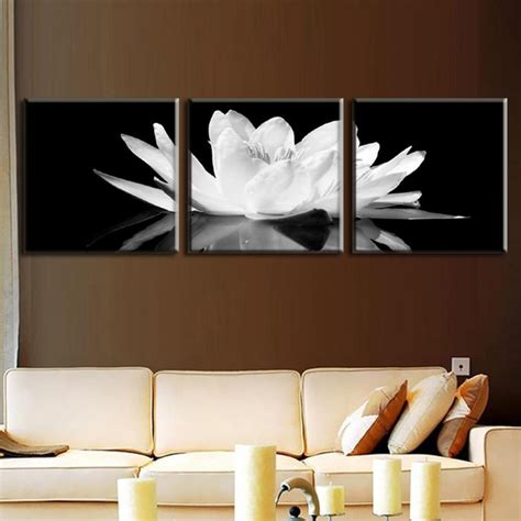 Lotus Kanvas 40x40 3 pcs set canvas print flower white lotus in black wall picture with frame modern wall