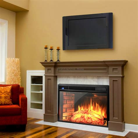 Electric Fireplace Heater Insert 1500w Free Standing Insert Electric Fireplace Firebox Heater Logs Remote Ebay