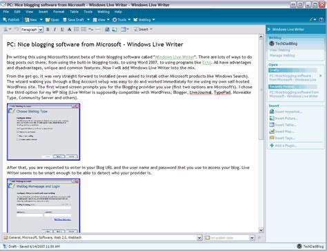 web layout view pc nice blogging software from microsoft windows live