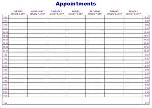 Appointment Template by Appointment Schedule Template 5 Free Templates
