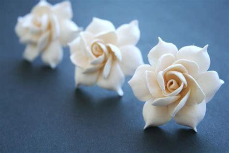 Bridal Flower Hair Clip Set ivory gardenia bridal hair pin set bridal flower hair