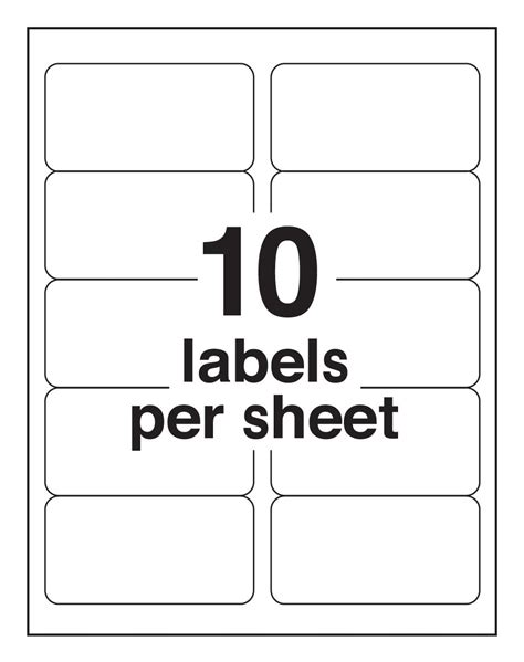 10 up label template avery mailing labels for laser printers 2 x 4 inches 10