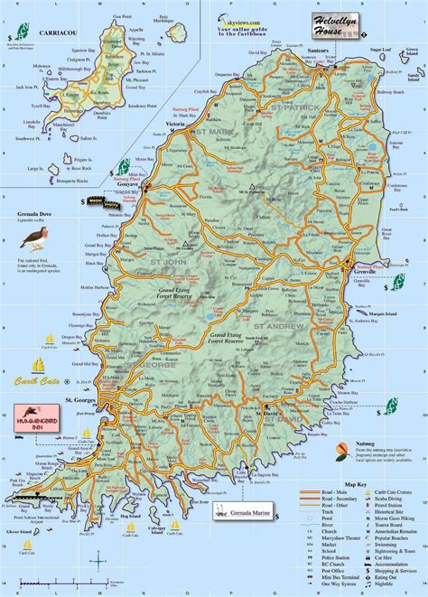 map of grenada island large detailed road map of grenada island grenada island