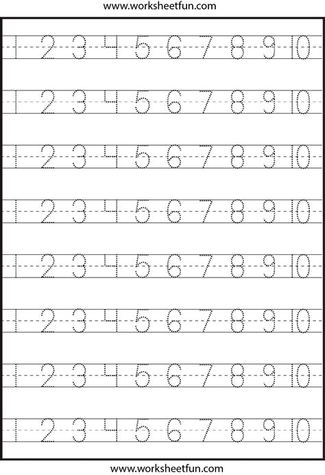 printable preschool number activities number tracing 1 10 worksheet kindergarten worksheets