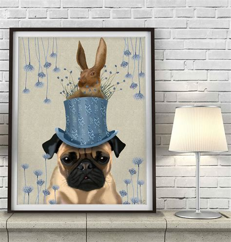 pug milliners print by fabfunky home decor