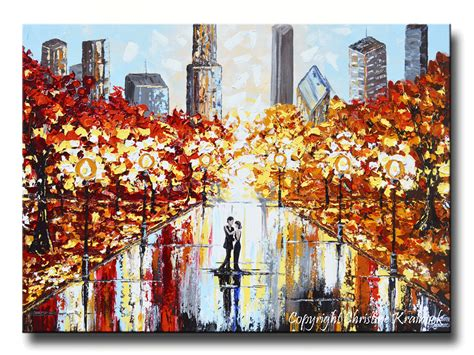 paintings home decor giclee print abstract painting city park
