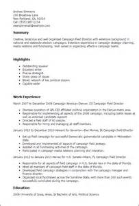 Caign Field Director Sle Resume by Race Resume Exles