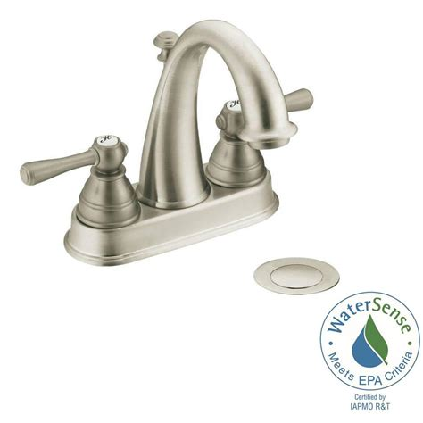 moen kitchen faucets brushed nickel moen kingsley 4 in centerset 2 handle high arc bathroom