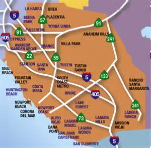 orange county map with cities