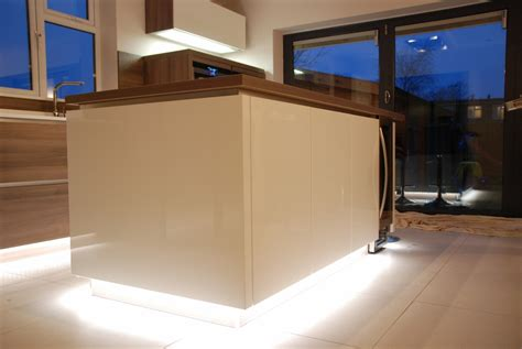 Plinth Lights Kitchen White High Gloss Kitchen Grey Acacia Panelling In Brighton