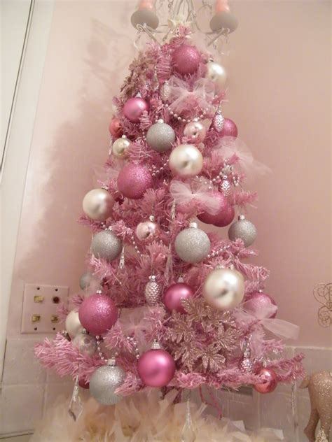 White christmas tree with pink decorations bedroom furniture reviews