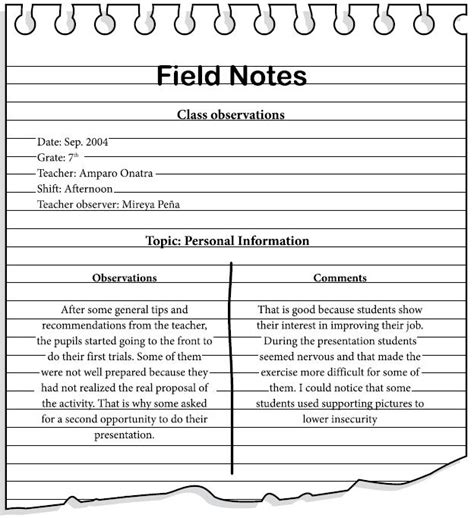 observation field notes template promoting production through the task based learning approach a study in a