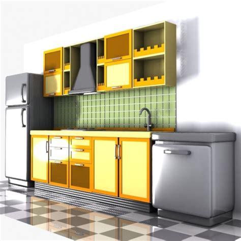 cartoon kitchen interior  model  unknown obj max