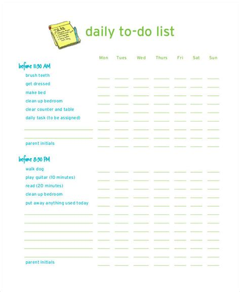 daily work to do list template daily to do list template 7 free pdf documents