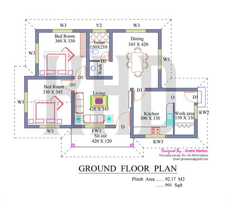 kerala home design with free floor plan low cost house in kerala with plan photos 991 sq ft khp