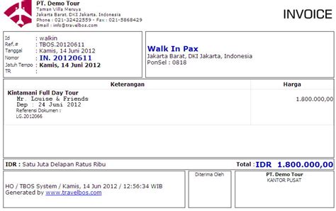 Contoh Invoice Travel | travelbos front office aplikasi travel agent program
