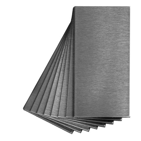shop aspect metal 3 in x 6 in stainless metal backsplash