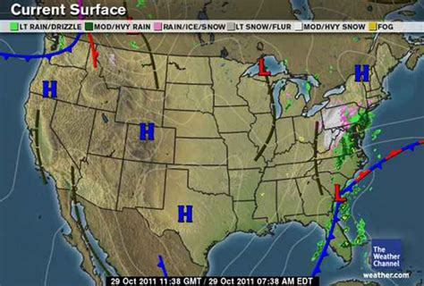 us weather map october snow october 29 30 2011 surface maps