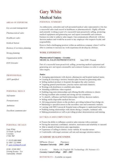 Medical Sales Cv Sample Marketing Resume How To Write A