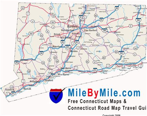 ct road map connecticut state highway map maplets