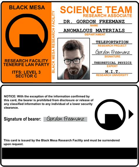 black mesa id card template gordon freeman half emezeta