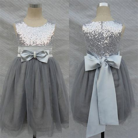 Sequin Sash Tie Dress by Bling Bling Flowers Dresses Wedding Silver Grey