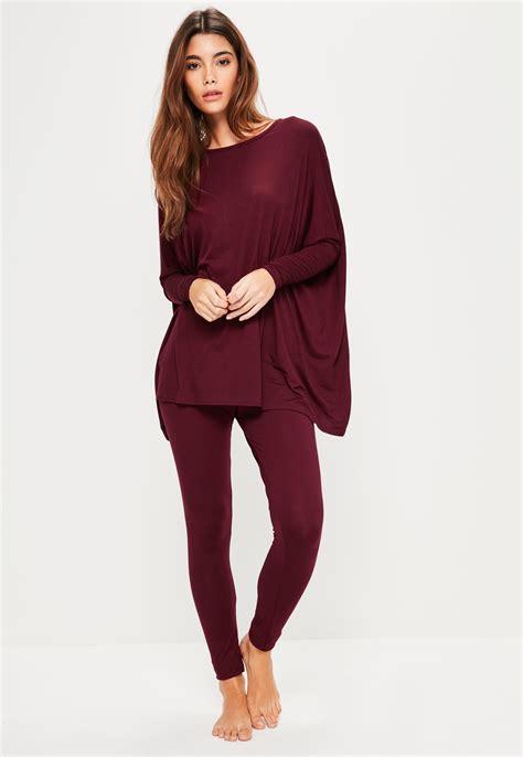 Loungewear Set Print Top lyst missguided burgundy oversized jersey loungewear set