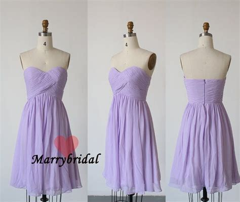 Affordable New Simple Lavender strapless Chiffon Short Bridesmaid dresses, Cheap junior