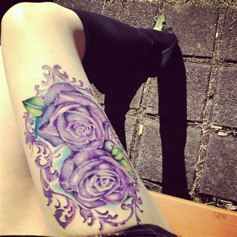 purple roses tattoos thigh ideas 3 roses