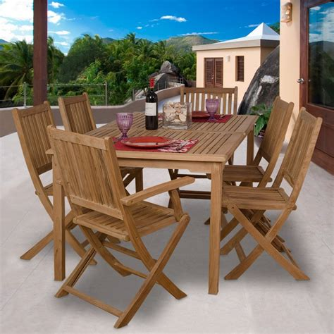 Teak Outdoor Dining Chairs Shop International Home Amazonia Rotterdam 7 Teak Patio Dining Set At Lowes