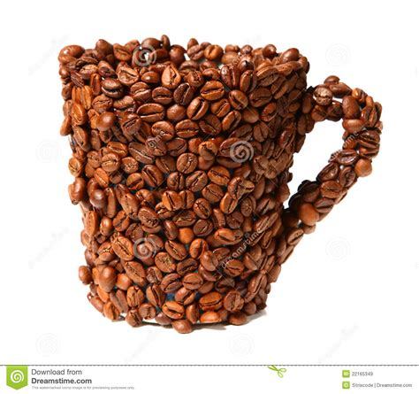 Tumbler Coffee Bean mug covered with coffee beans isolated on white royalty free stock images image 22165349
