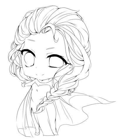 chibi elsa coloring page anime elsa from frozen coloring pages
