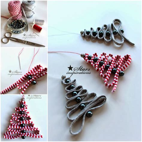 diy easy ribbon bead christmas tree ornament christmas