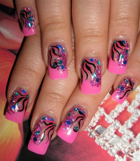 a simple and easy girly zebra nail art design finger simple party nail designs
