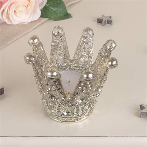 Tempered Glass Platinum tempered glass platinum sheen crown tea light holder by