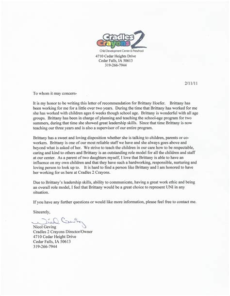 Recommendation Letter Daycare Daycare Director Nicol Geving Hoefer