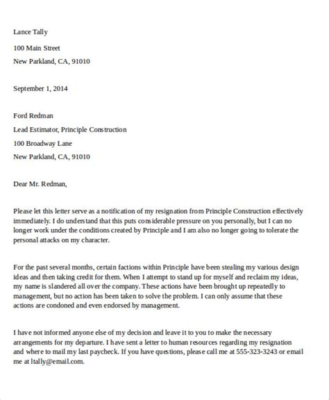 gallery of resignation letter closing