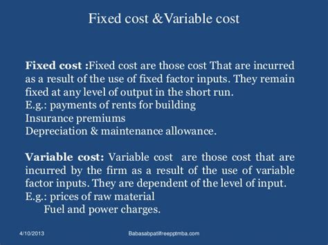 Fdifferent Types F Mba by Different Types Of Costs Ppt On Cost Accountancy Mba