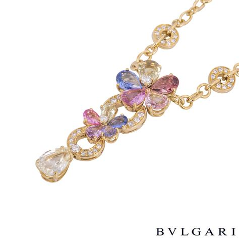 Bvlgari Flower bvlgari yellow gold sapphire flower necklace