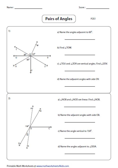printable math worksheets angles in transversal answers pairs of angles worksheets